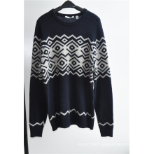 Wool Blend Round Neck Knitting Men Pullover