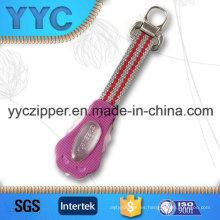 Hot Sales tejido tirador de cremallera con diseño personalizado bienvenido
