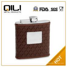 Frasco de la cadera de FDA de 6 oz cuero marrón con patrón acolchado