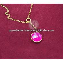 Designer Vermeil Pink Chalcedony Gemstone Long Chain Necklace For Women