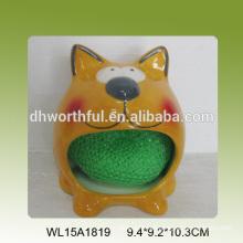 Soporte de esponja de cerámica en forma de gato lindo