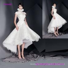 Impresionante alto cuello mangas mangas vestido de novia con falda de té de la llamarada