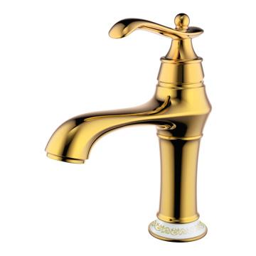Gold Einloch- und Hebel Vintage Becken Wasserhahn