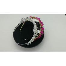 Commerce de gros en argent à la main de perles de cristal de mariage bandeaux de mariée casque