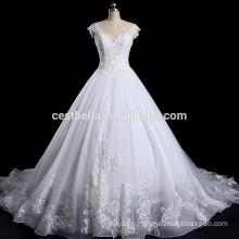 V-Ausschnitt-Kappen-Hülsen-Hochzeitsfest-Kleid plus Größen-Hochzeits-Kleid