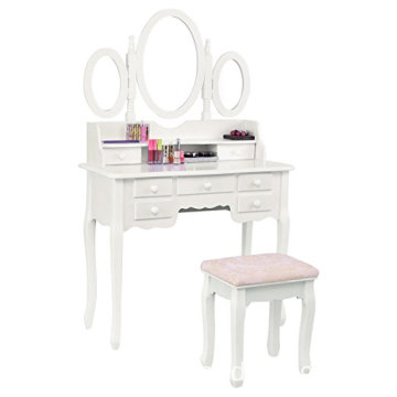 Bathroom Vanity Set Tri-folding Mirror Soft Padded Bench with 7 Drawer 3 mirrors Make-up Dressing Table Vanity Table Set (White)