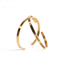 2018 Hot Selling Famous IP Plating Colors Stainless Steel Engraving Cuff Bangle Bracelet