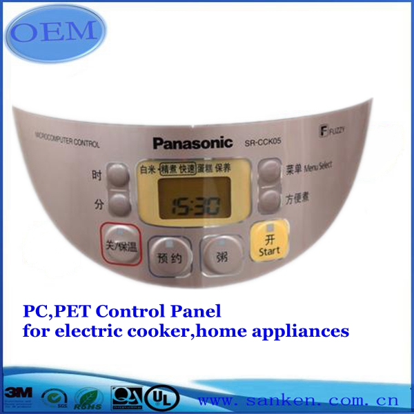 PC,PET control panel for electric cooker,home appliances0