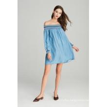 off shoulder fashion smocking ladies denim tencel dress