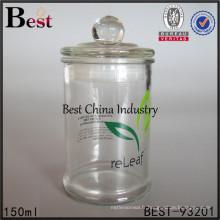 Clair rond 150 ml verre pot avec couvercle en verre pas cher thé bonbons conteneur Chine alibaba, échantillon gratuit
