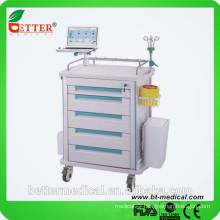 "Aluminum&ABS 3""silent castors high fashion Ambulance medicine hospital trolley cart"