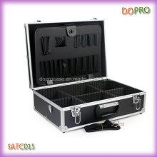 Boîte à outils portative de coiffeur de poignée de couleur noire en gros (SATC015)
