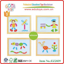 continued selling wooden easel board DIY puzzles for kids OEM magnetic board box with patterns EZ2039
