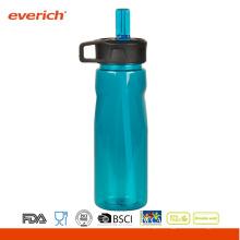 Garrafas de esportes plásticas baratos com tampa de palha Bebidas fáceis