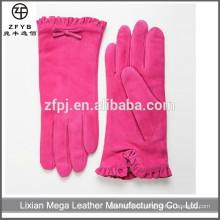 Los guantes de cuero nupciales rosados superventas de las mujeres de la piel de cerdo del vestido nupcial