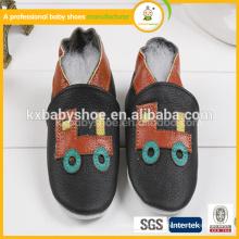 2015 sehr schöne kleine Busmuster schwarze Farbe Baby echtes Leder Schuhe