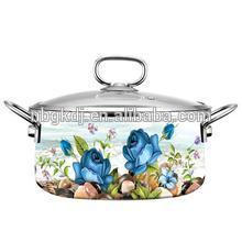 Wholesale of household enamel flower pot with glass lid Wholesale of household enamel flower pot with glass lid