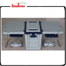28L Multi Function Rolling Plastic Beer Picnic Cooler Table and 2 Chairs