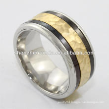 new arrival ring,2014 fashion high polish stainless steel ring with two black loop round , charming for men