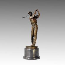 Deportes Escultura de bronce Jugador de golf Caeving Estatua de latón, Milo TPE-028