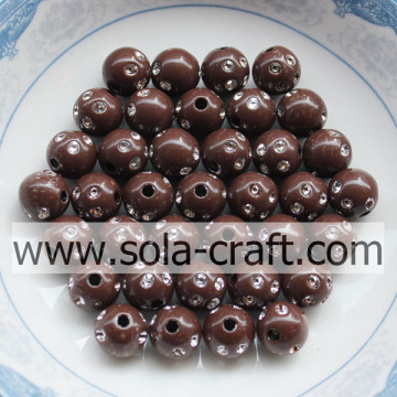 5MM New Product Coffee Color Acrylic Diamond-studded Beads
