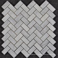 Qatar Style Herringbone Carrara White Marble Mosaic Backsplash Tile