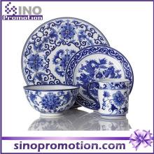 Conjunto de jantar de porcelana azul e branco
