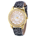 Vein Leather Strap Rhinestone Quartz Watch
