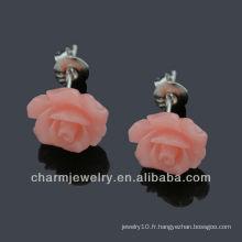 Boucles d'oreille en résine naturelle Rose Flower Earrings hypo allergic stainless stee Poste EF-001