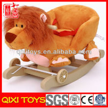 Customized logo promotional gift plush lion rocking chair with wheels