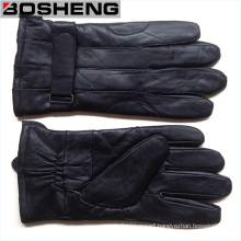New Winter Warm Men Black Soft Leather Gloves Cashmere Lined