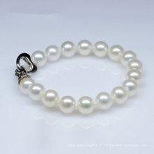 Bracelet à perles rondes naturelles de style classique (E150029)