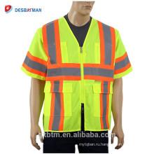 2018 Новый ANSI класс 3 100% полиэстер Привет vis желтый строительный рабочий униформа светоотражающие полосы безопасности жилет с карманами