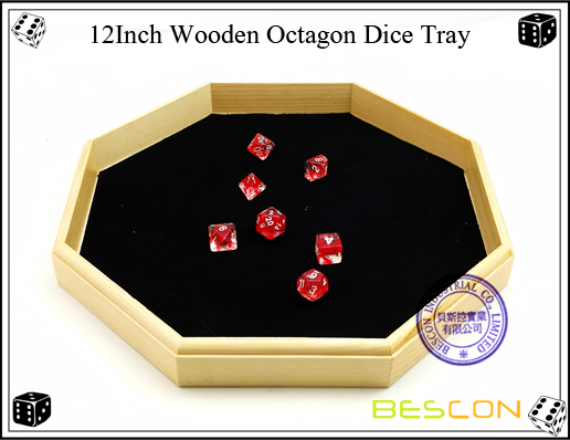 12Inch Wooden Octagon Dice Tray-4