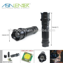 3 AAA or 18650 Battery Powered 3 Lighting Modes Aluminum Cree XPE LED Most Powerful LED Rechargeable Flashlight