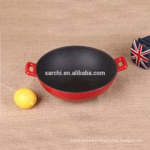 Enamel cast iron non-stick chinese wok