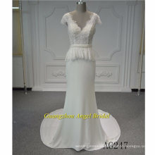 Sexy Deep V Neck Chiffon and Lace Wedding Dress Bridal Gown
