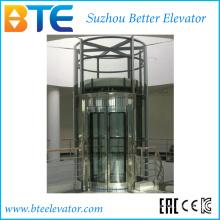 Traction Vvvf Circulaire panoramique Passager Ascenseur avec rotation horizontale