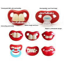 Massenaufträge lustige Lippenform Safe FDA Silikon Baby Nippel