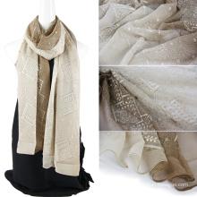 Dos tonos de color emboidery seda bufanda mujeres con lentejuelas
