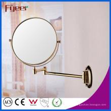 Fyeer rodada espelho de maquiagem espelho de parede dourado dobrável (m0128g)