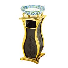 Cubo de basura de moda de hierro para el vestíbulo con cenicero de cristal (yw0069)