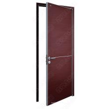 Abra a porta exterior. Portas de madeira com madeira compensada e acabamento laminado. Portas à prova de fogo de madeira para a escolha