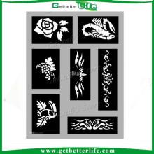 2015 getbetterlife reutilizable brillo del tatuaje de tatuaje de la plantilla de stencil/plantilla del tatuaje de la alheña