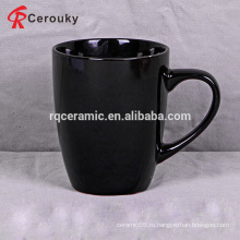 Оптовая сплошная цветная черная долговечная круглая керамическая кружка