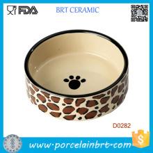 Pata de perro pintura forma redonda porcelana plato de perro al por mayor