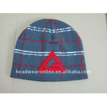 Jacquard knitted beanies hats with embroidery logo
