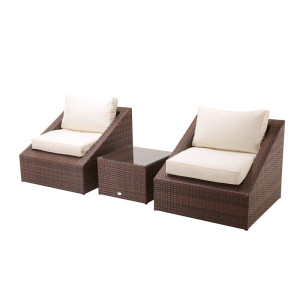 3pc steel rattan balcony sofa set