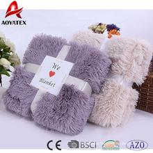 promotional super soft pv fleece long pile fake fur plush blanket