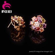 Fashion Type 18k Gold Cubic Zirconia Cuff Earrings